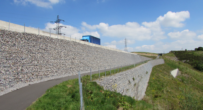 Highest retaining wall of its kind in the UK