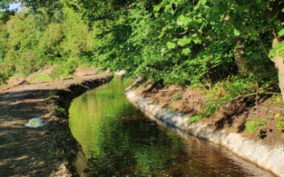 Sustainable erosion protection layer for an open channel at Scottish Canals Almond Feeder