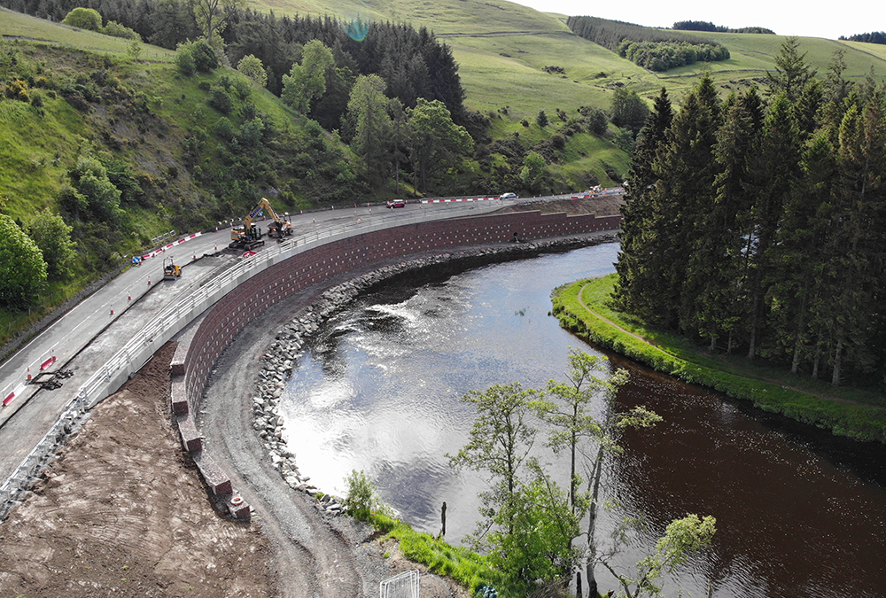 Technically challenging road widening project in the Scottish Borders (A72)